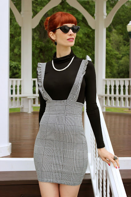 FemmeLuxe Finery Black and White Check Pinafore Dress- Sophie