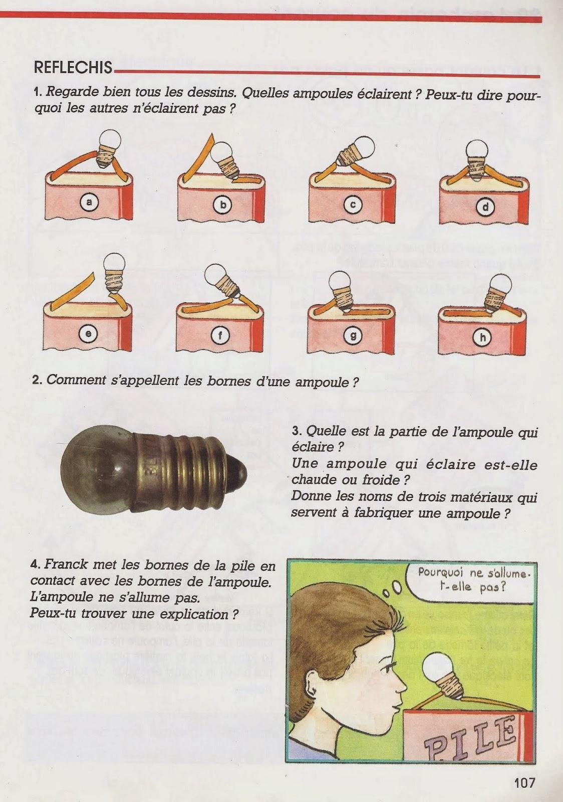 Le ons de choses 27 34 l 39 clairage lectrique piles - Allumer lampe de poche ...