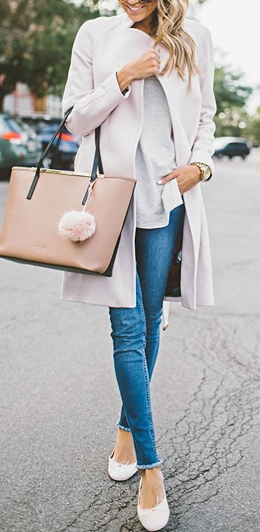 what to wear with a pair of skinny jeans : bag + heels + top + coat