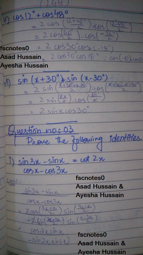 FSc ICS FA Notes Math Part 1 Chapter 10 Trigonometric Identities Exercise 10.4 Question 1 - 2 written by: Asad Hussain & Ayesha Hussain 4