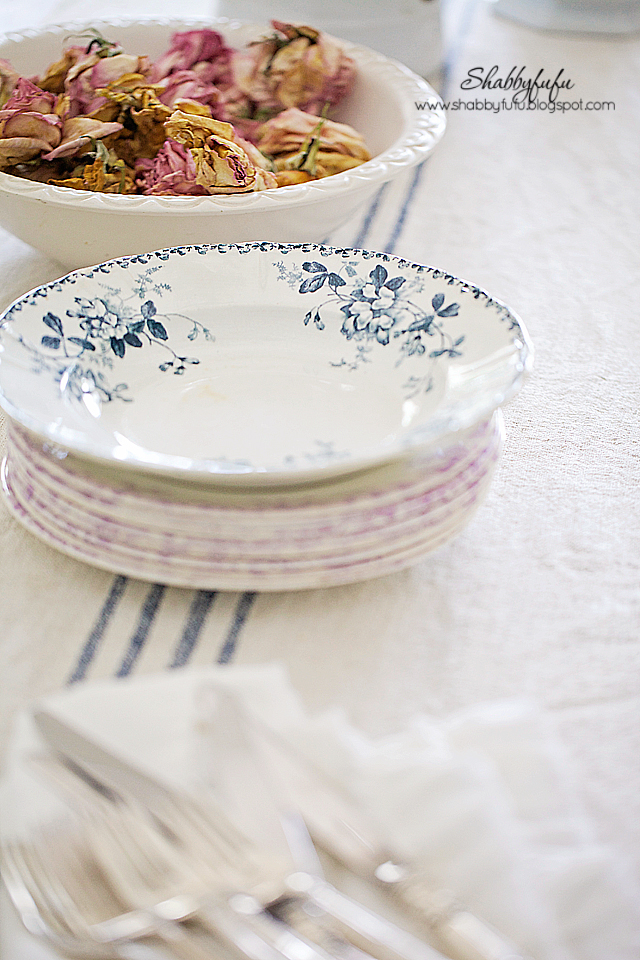 Dried rose petals and soft patterned china add an elegant charm to any fall vignettes.