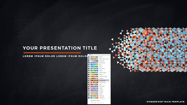 Polygonal Presentation Title Background Free PowerPoint Template with Orange Red Color Scheme