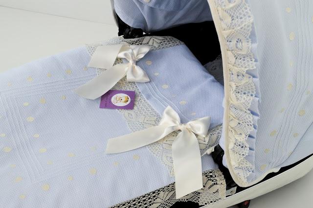 saquito lencero celeste beige bebecar