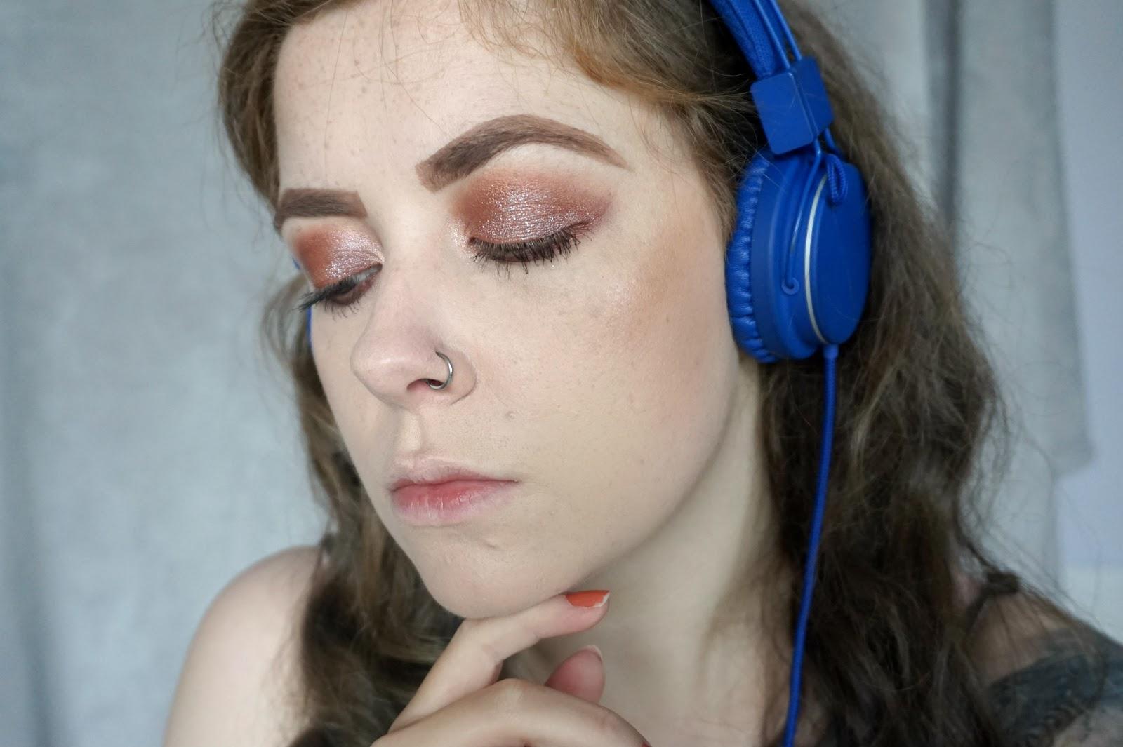 girl make-up headphones earphones music listening