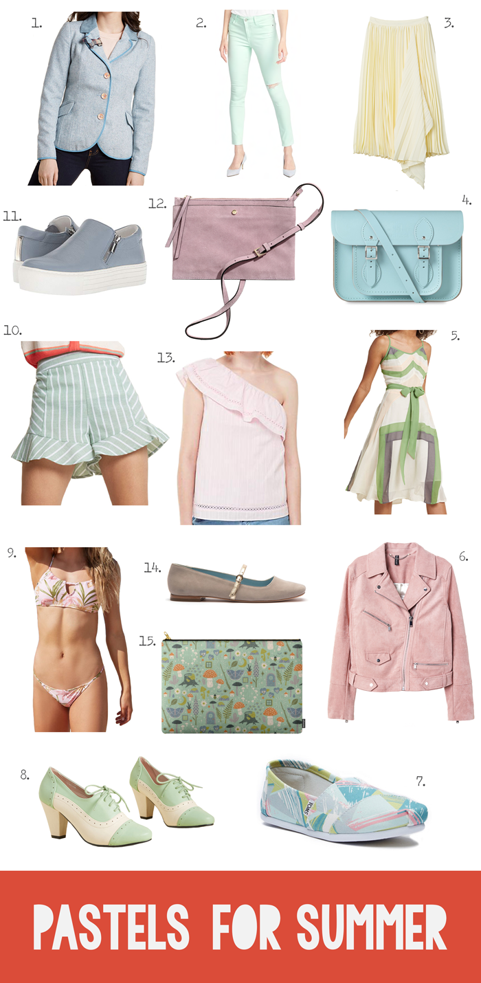 Clothing, shoes, accessories, bags, purses, in pastels color, Cambridge Satchel Company, skirt, jacket, dress