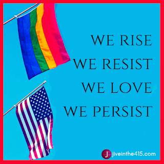 A rainbow and American flag with pro gay message: we rise, we resist, we love, we persist.