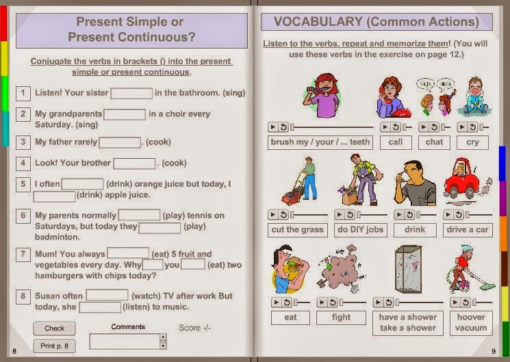 Image result for Present simple and present continuous interactive book