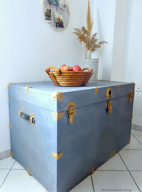 Milk paint metal trunk makeover featured at Knick of Time's Talk of the Town Link Party