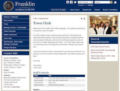 Town Clerk page on the revised Town of Franklin website
