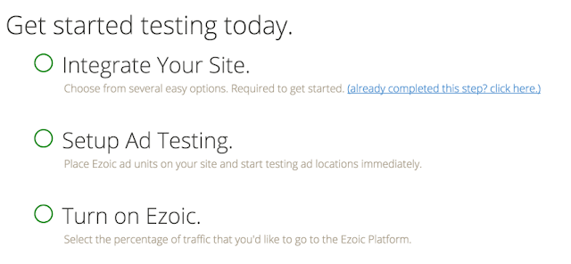 Ezoic Integrate, Set up ad testing and turn on ezoic