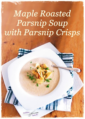 maple roasted parsnip soup with Fairfield crisps