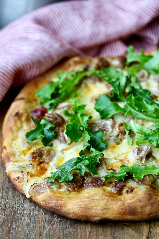 Sausage and Cambozola Pizza with Arugula and Grapes