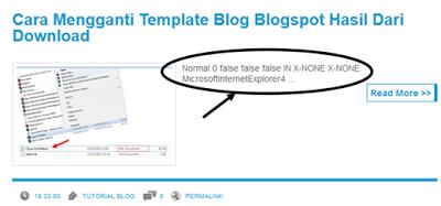 Contoh Tampilan error postingan pada blog