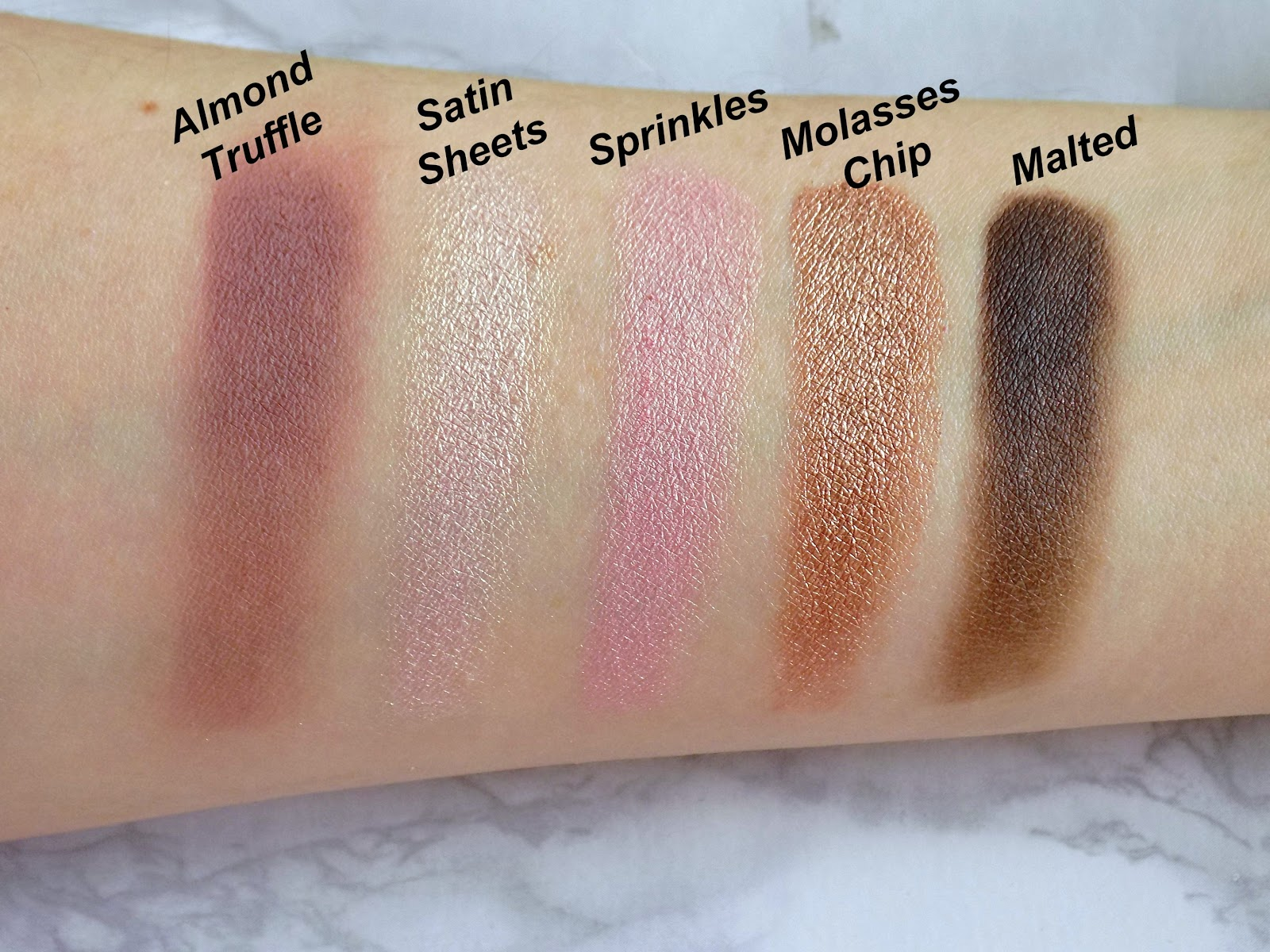 Too Faced Chocolate Bon Bon palette swatches