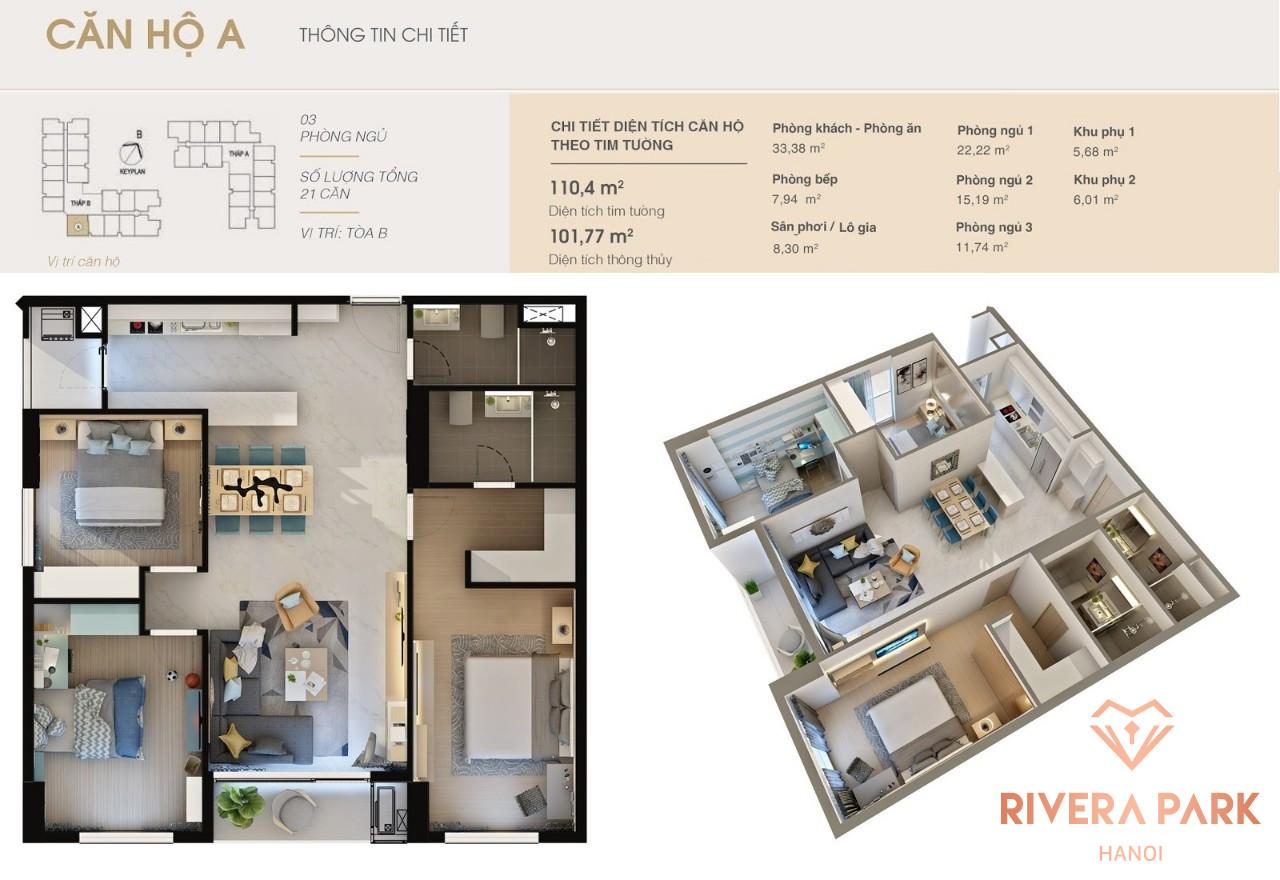 Thiết kế căn hộ Rivera Park Hà Nội Loại A | Căn Số 8 Tòa B