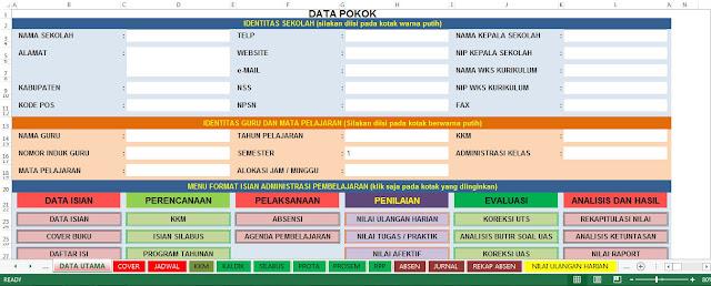 1 Aplikasi Administrasi Guru Lengkap dalam Format Excel