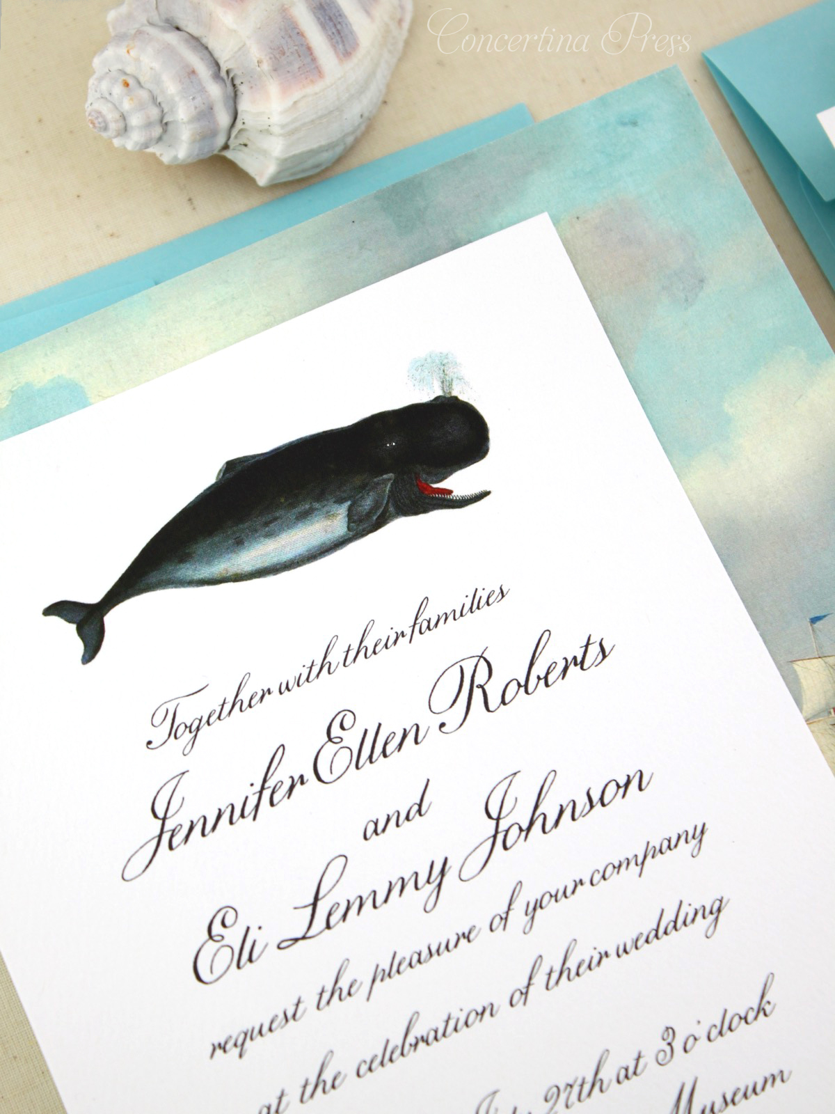 Beautiful Whale Invitations from Concertina Press