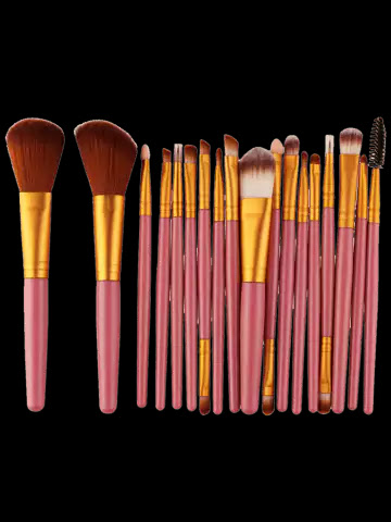 18Pcs Face Eye Multipurpose Makeup Brushes Kit - Gold And Pink