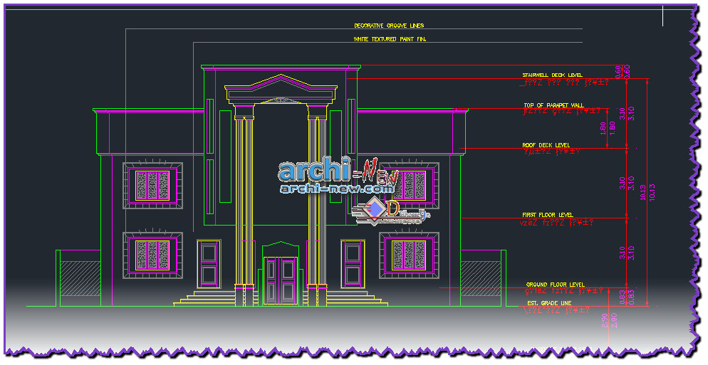 Download autocad cad dwg file villa house with all the for Home architecture cad