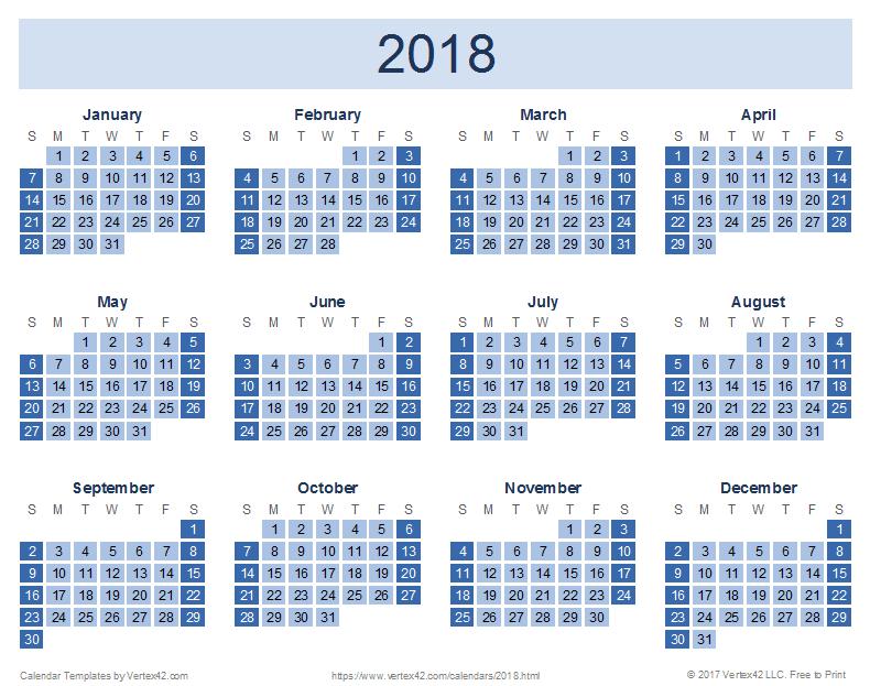 2018 Calendar Download Quality Calendars