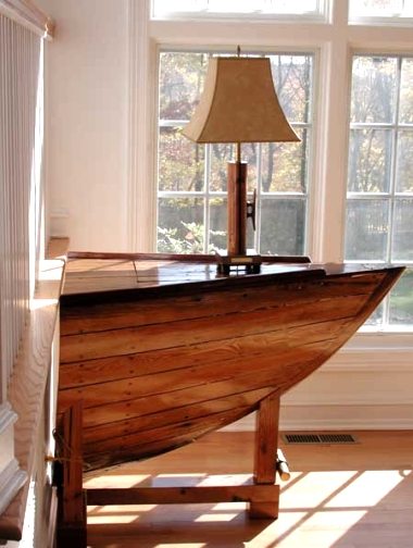 repurposed boat into table