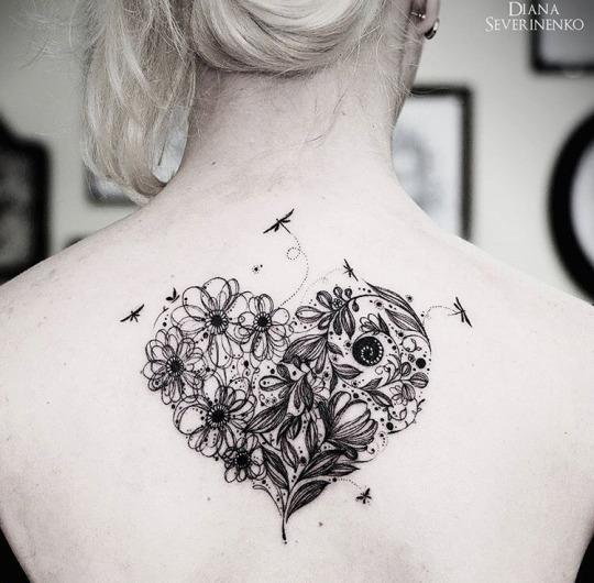 Flower Heart Tattoos Designs