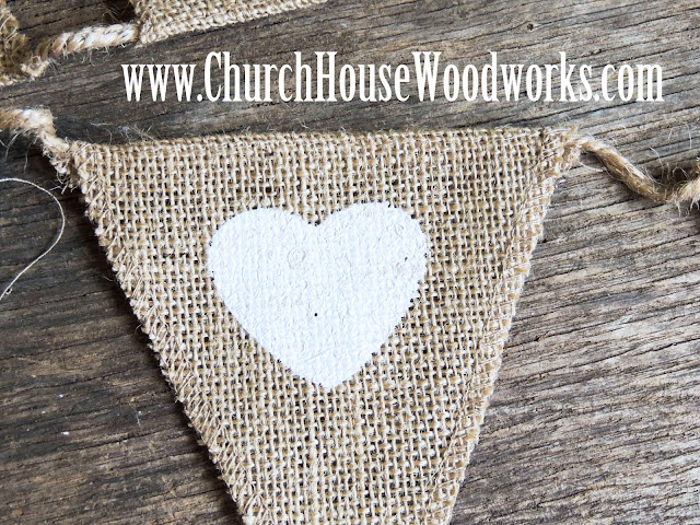Heart Burlap Flag Banner For Rustic Weddings, Baby Showers, Birthdays- Church House Woodworks- DIY Decorating