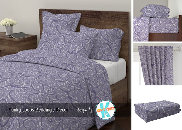 Funky loops pattern purple and gray custom bedding from katzdzynes