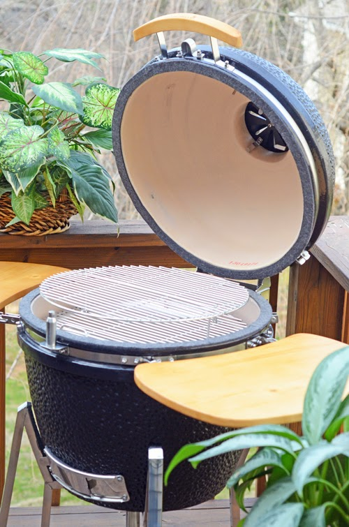 open view of a black kamado grill
