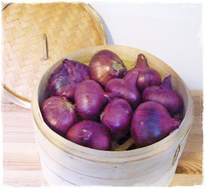 storing onions in a steamer basket