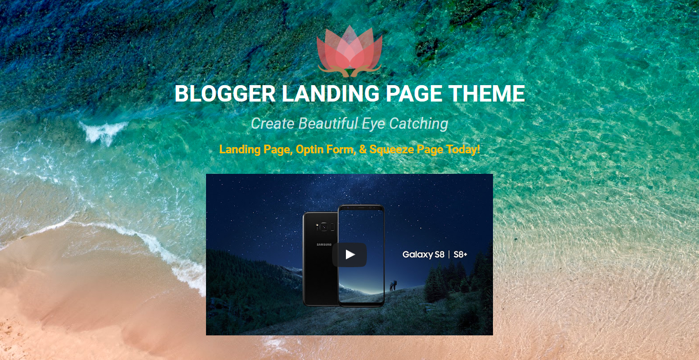 Beautiful Landing Page With Responsive Youtube Video Embed.