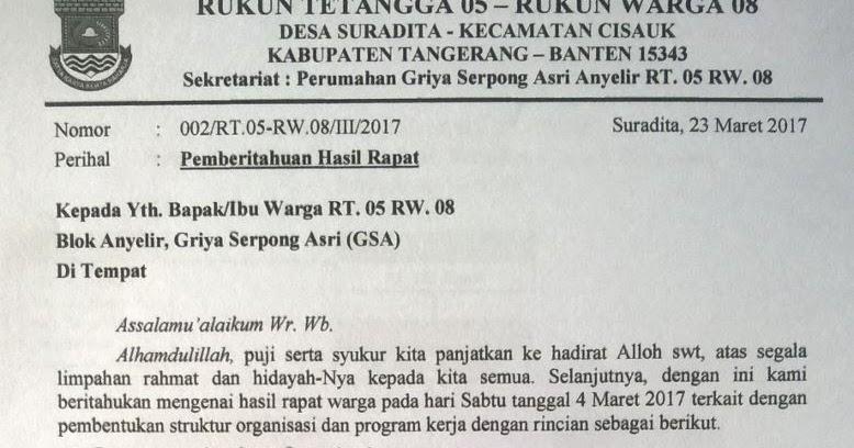 Rt 05 Rw 08 Gsa Surat Edaran Hasil Rapat