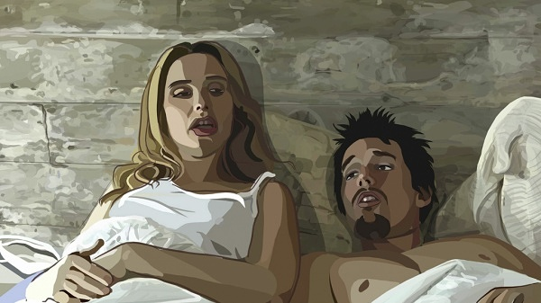 Julie Delpy and Ethan Hawke in Waking Life