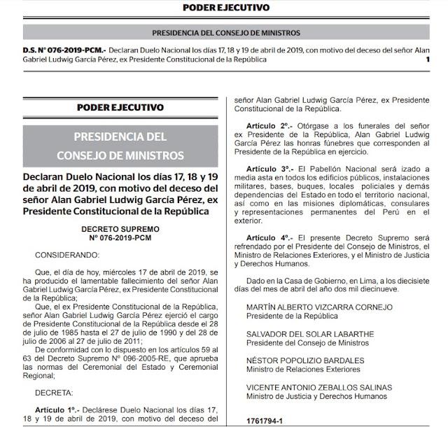 Declaran Duelo Nacional los días 17, 18 y 19 de abril de 2019, con motivo del deceso de Alan García Pérez, expresidente Constitucional de la República