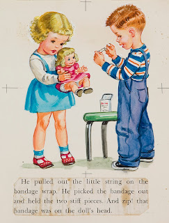 Illustration of a young girl holding a doll and a young boy getting ready to put a bandage on it
