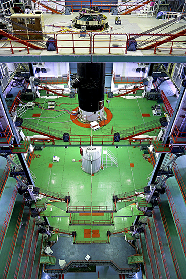 Assembly of L-40 Strap-Ons with Core Stage of GSLV-D5
