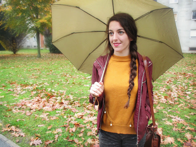 Rosegal recenzija, review, online trgovina, jesen, jesenski look, stil, fashion, burgundy, mustard, boja senfa, autumn, fall, umbrella, rainy day, kišni dan, rosegal saj, moje iskustvo s rosegalom