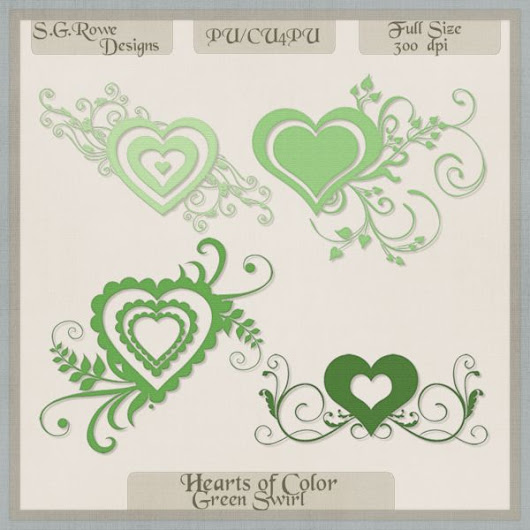 Hearts of Color Swirl Hearts - Green Shades