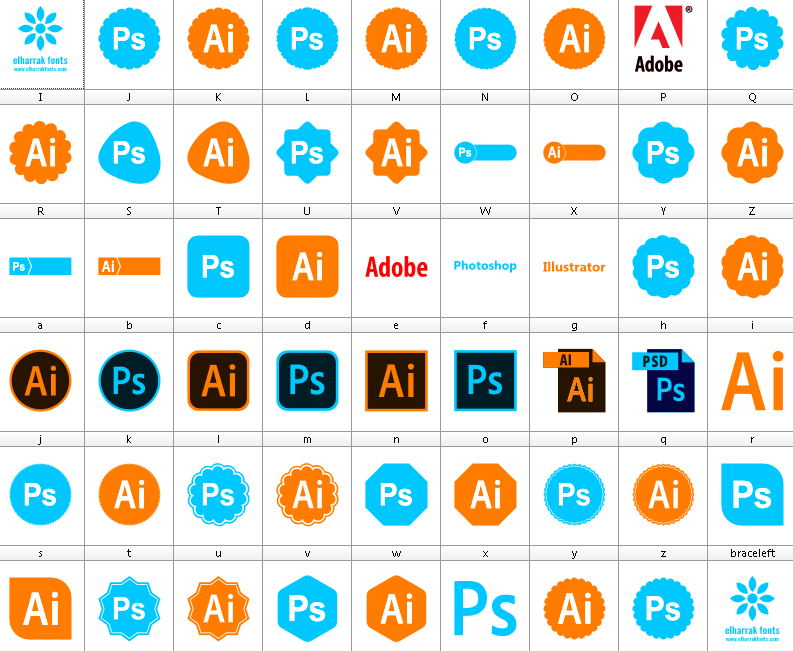 Download Font Photoshop Illustrator Color font ttf otf 52 icons elharrak fonts 2019