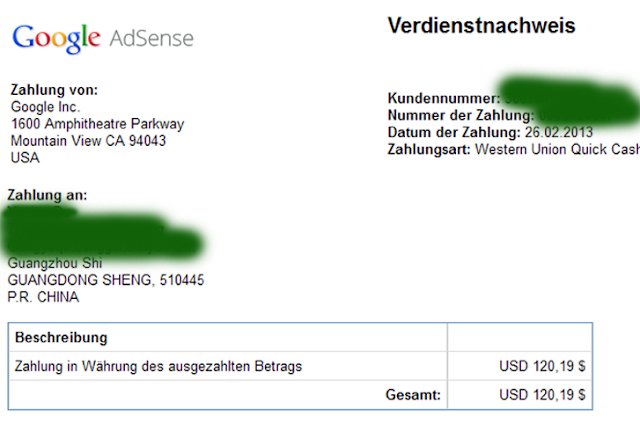 google adsense paid by western union