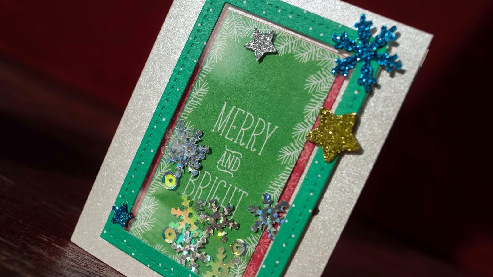 mini shaker cards christmas card serie 2014 green border