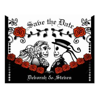red roses gothic skeletons wedding save the date postcard by Julie Alvarez Designs
