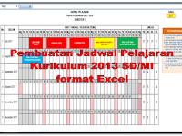 Contoh pembuatan jadwal Kurikulum 2013 dan KTSP SD/MI dengan format Excel tahun pelajaran 2017/2018