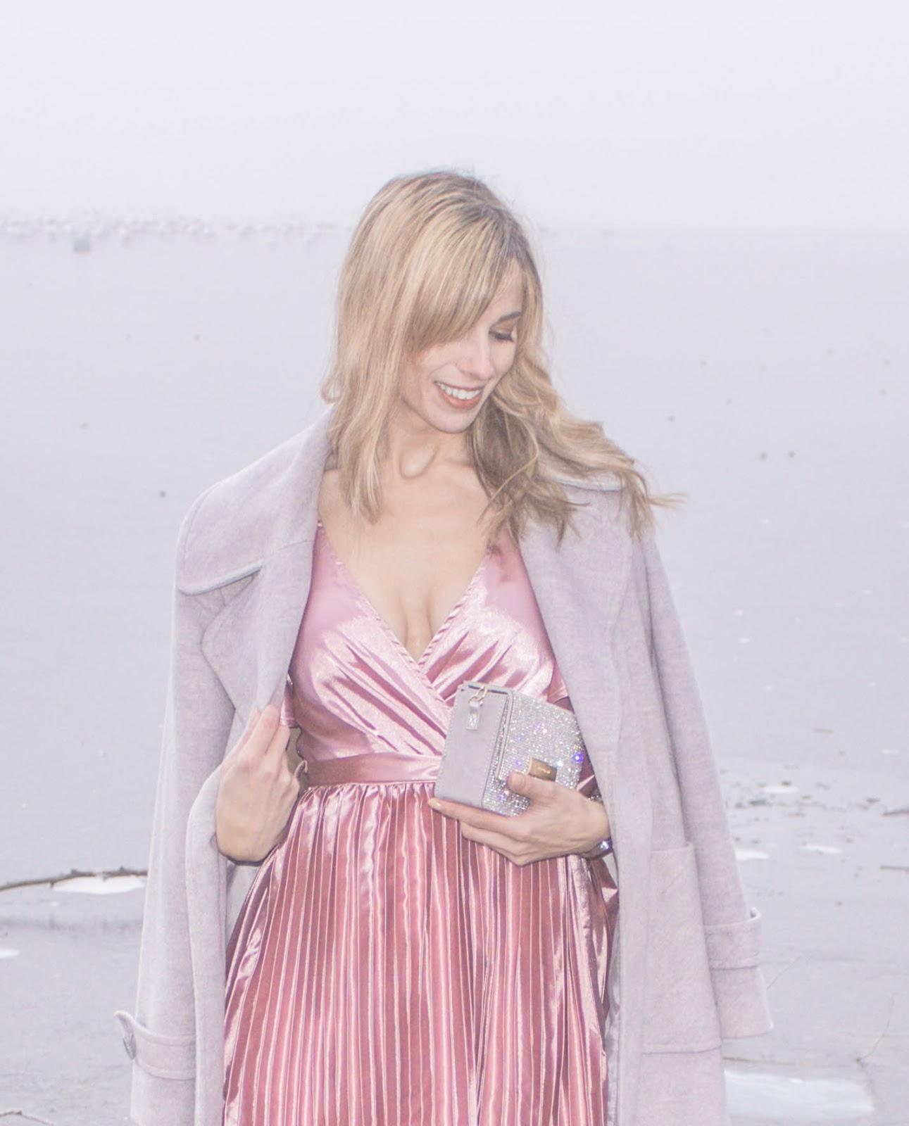 Pink Dress And Grey Coat