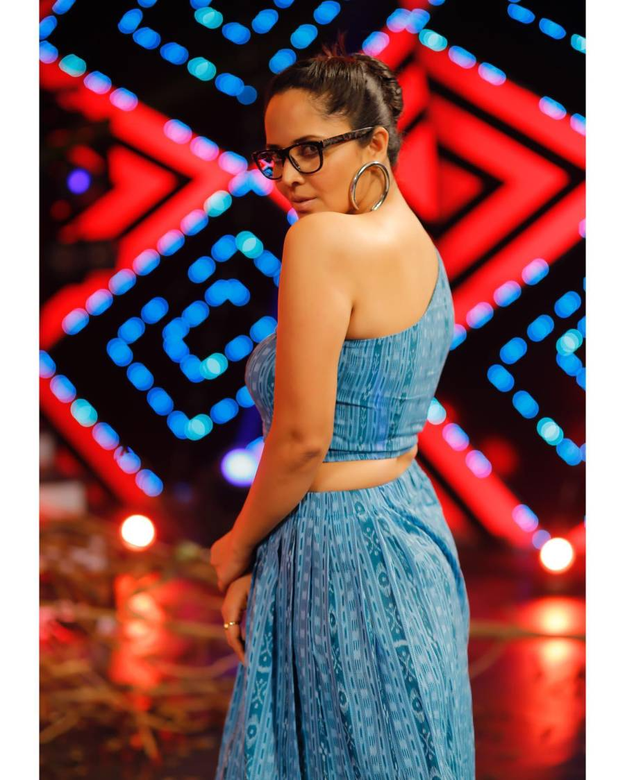 TV Anchor Anasuya In Hot Blue Dress With Glasses