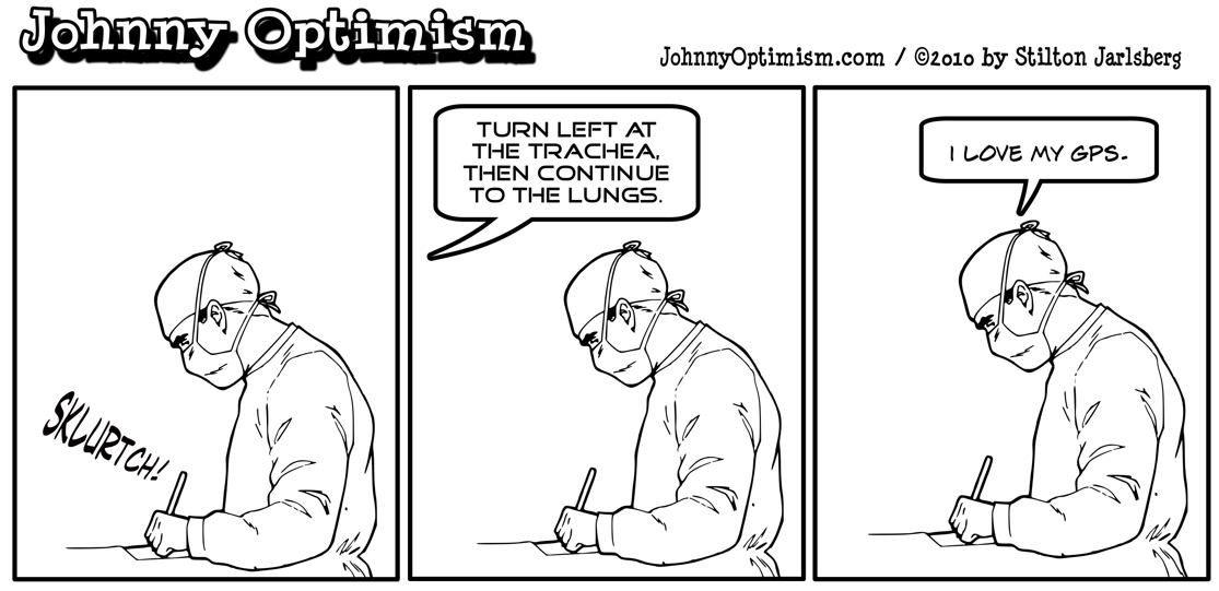 Johnny Optimism, johnnyoptimism, medical humor, stilton jarlsberg, surgeon, gps