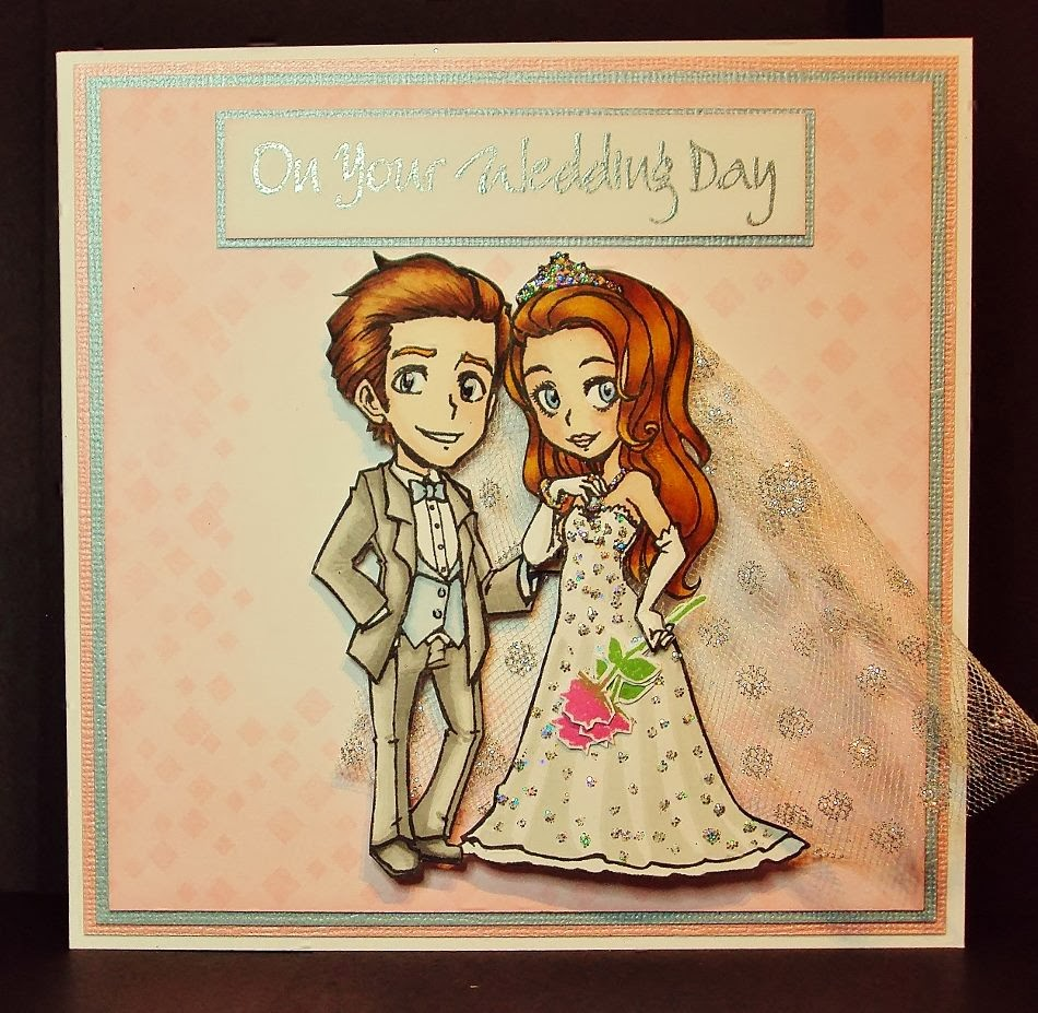 bride and groom character stamps wedding day verse stamp