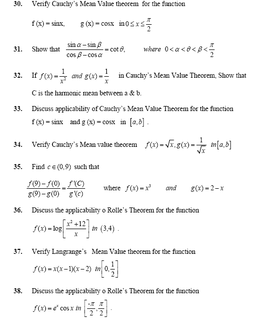 Important Questions for Limit , Continuity,Differentiability