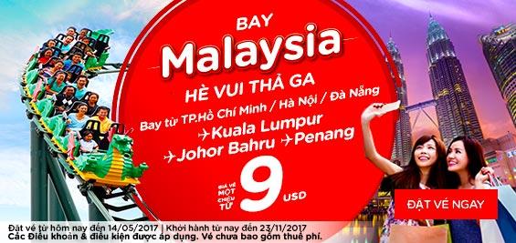 Cùng Air Asia bay Malaysia hè vui thả ga chỉ từ 9 USD