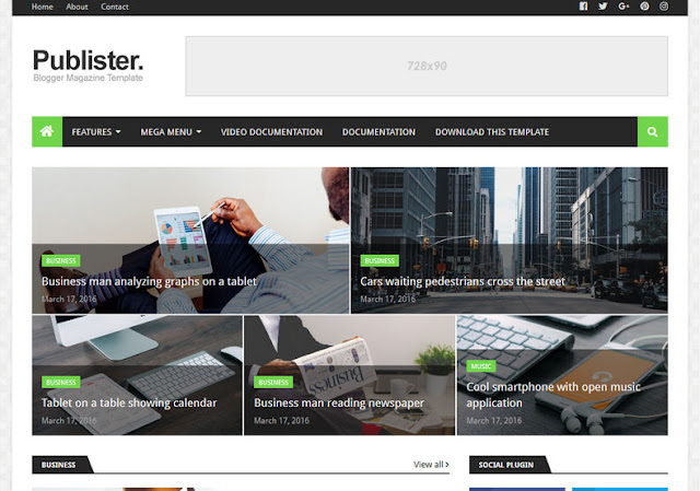 download free publister blogger template